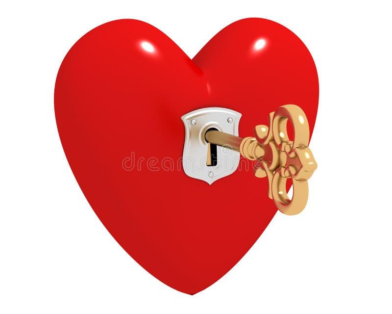 Corazón con clave ilustración del vector