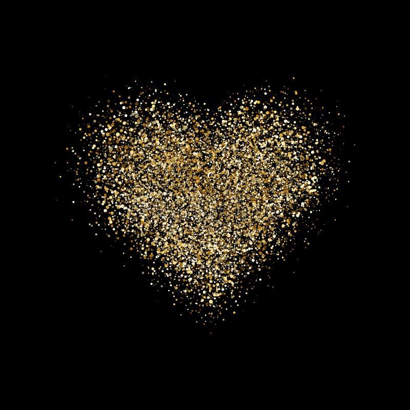 Corazón con confeti del brillo en fondo negro El oro chispea corazón Polvo de estrella mágico brillar intensamente fondo de oro d stock de ilustración