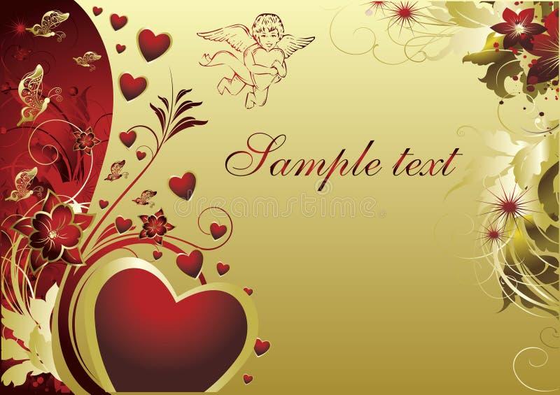 Corazón con el cupid stock de ilustración