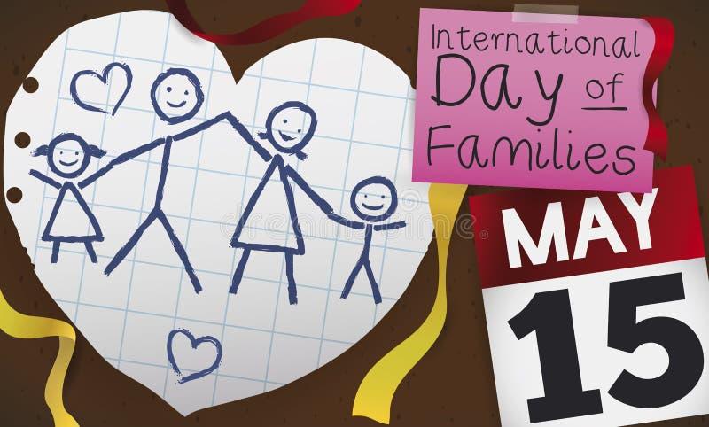 Corazón con el dibujo al agua para celebrar el día de las familias, ejemplo del vector libre illustration