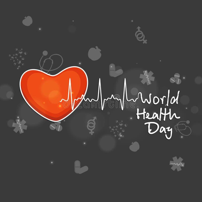 Corazón con el estetoscopio para el día de salud de mundo libre illustration