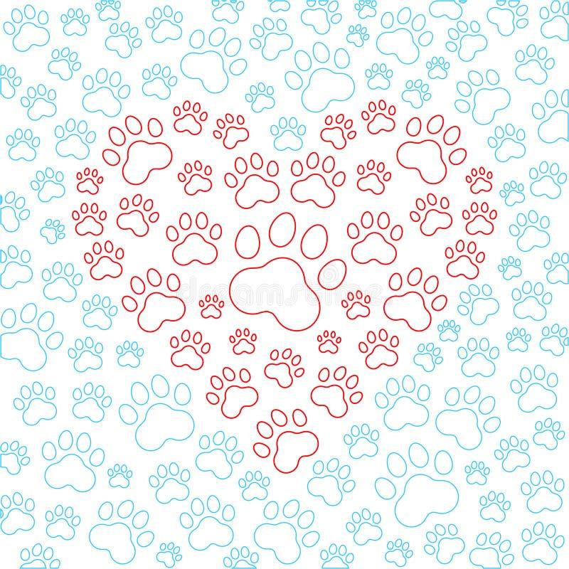 Corazón con el fondo de las patas del perro o del gato Vector stock de ilustración