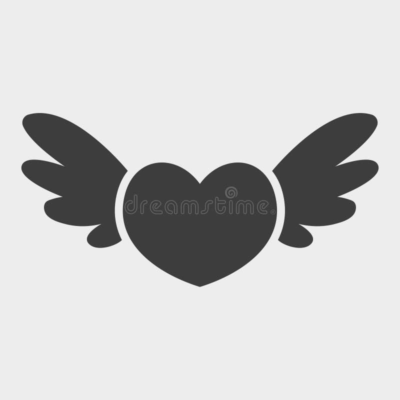 Corazón con el icono de las alas aislado en el fondo blanco Estilo plano del diseño Pictograma moderno del vector para los gráfic stock de ilustración
