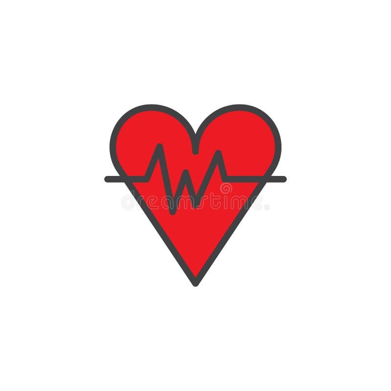 Corazón con el icono llenado ondas del esquema del golpe stock de ilustración