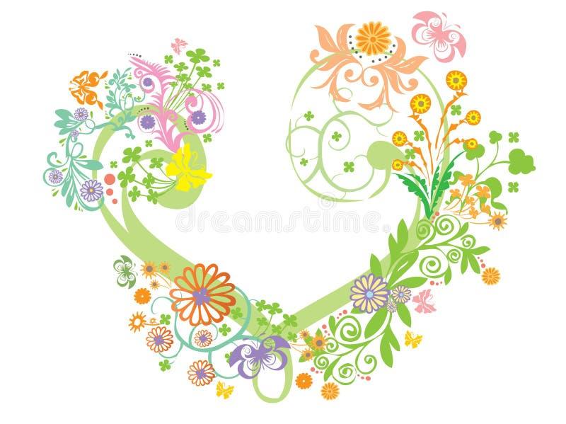 corazón con el papel pintado de la flor imagen de archivo libre de regalías