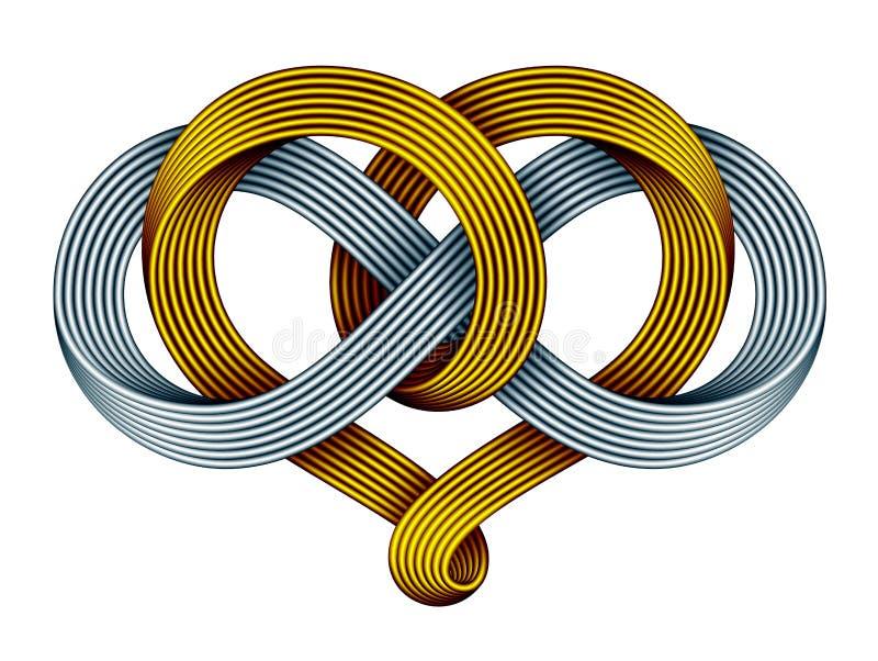 Corazón con el símbolo del infinito del oro y de la tira de mobius de plata Para siempre muestra del amor Ilustración del vector ilustración del vector