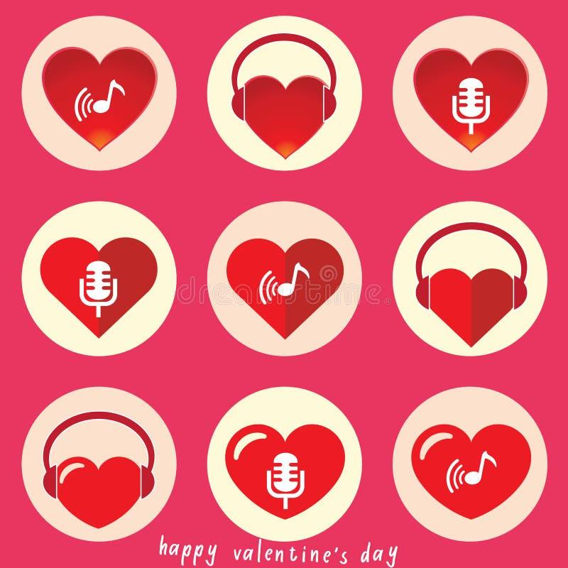 Corazón con el sistema del icono de la música ilustración del vector