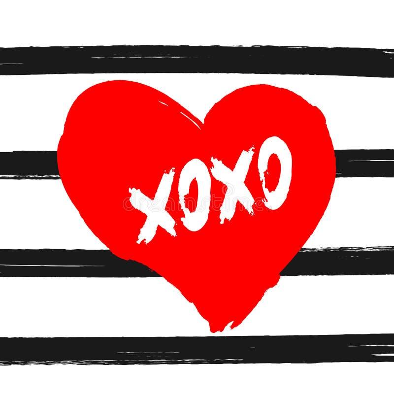 Corazón con el texto Xoxo en el fondo rayado pintado con el cepillo del watercolour Bosquejo, acuarela, tinta, pintada ilustración del vector