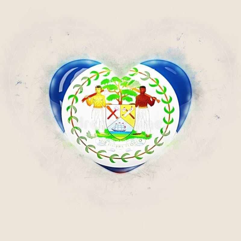 Corazón con la bandera de Belice ilustración del vector