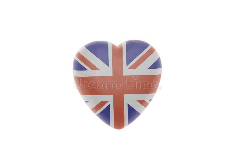 Corazón con la bandera de británicos Union Jack fotografía de archivo