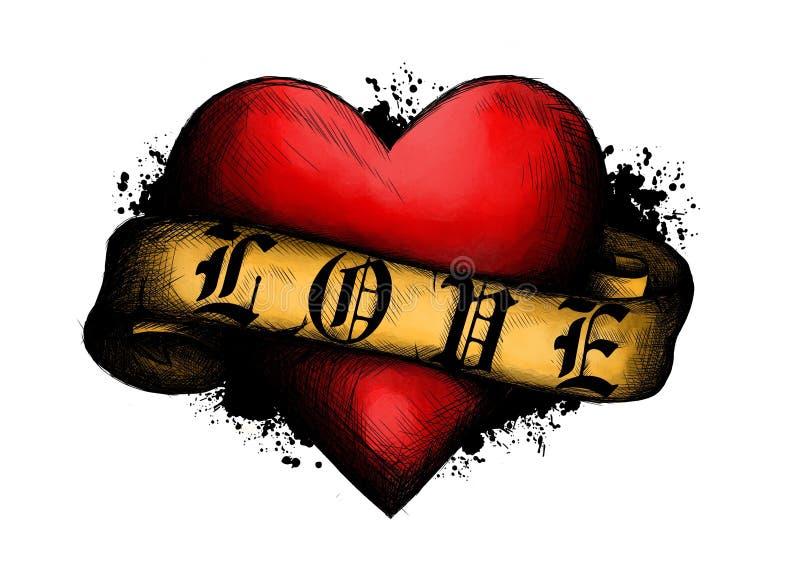 Corazón con la cinta en estilo del tatuaje ejemplo en estilo grabado ilustración del vector