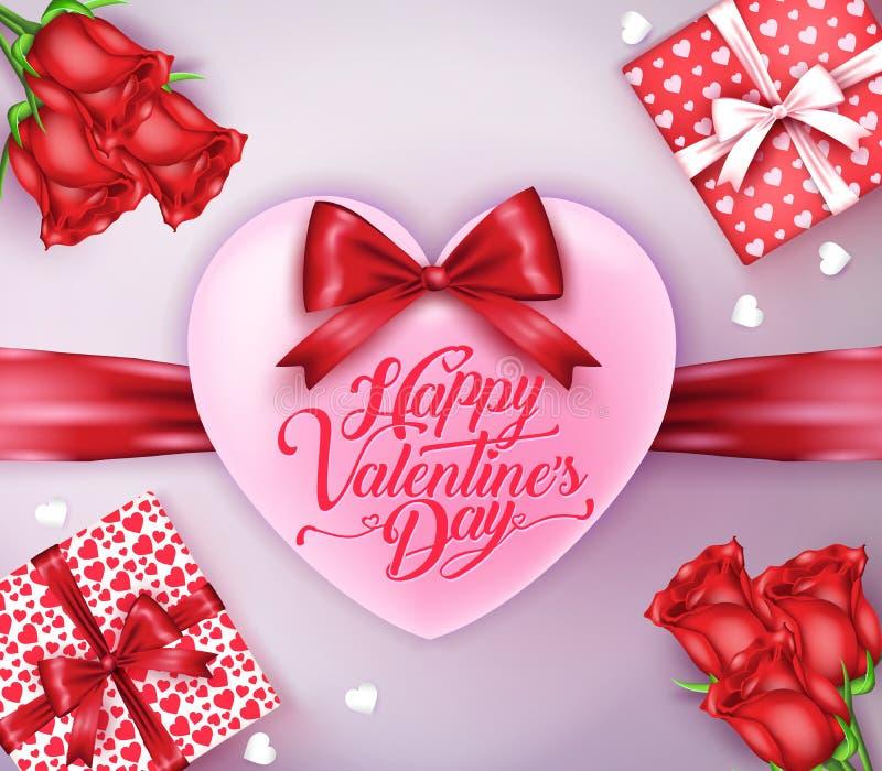 Corazón con la cinta roja y el saludo feliz del día de tarjetas del día de San Valentín ilustración del vector