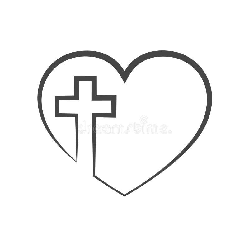 Corazón con la cruz cristiana dentro Ilustración del vector ilustración del vector