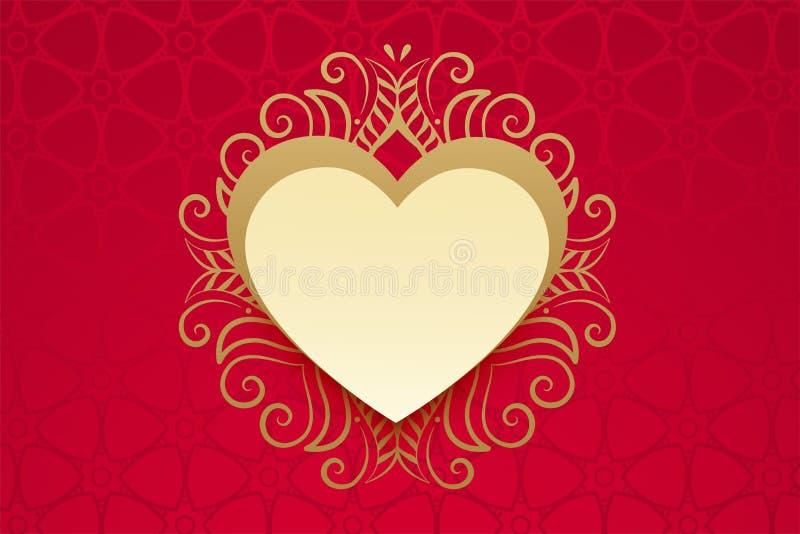 Corazón con la decoración floral de oro en estilo del vintage stock de ilustración