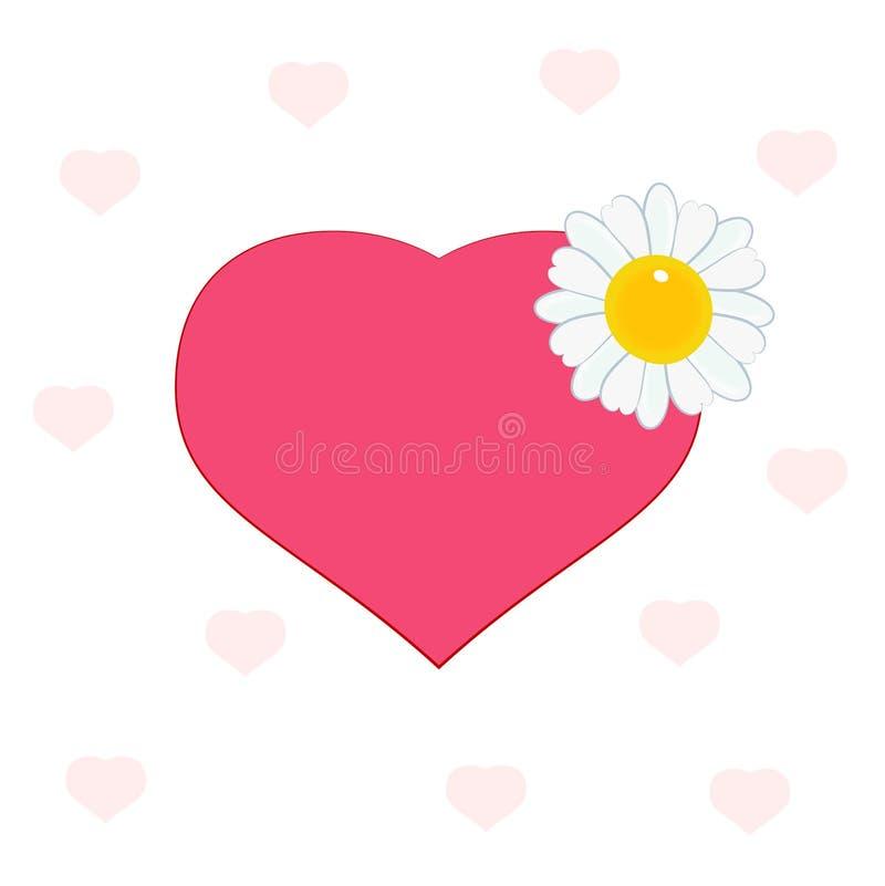 Corazón con la margarita stock de ilustración