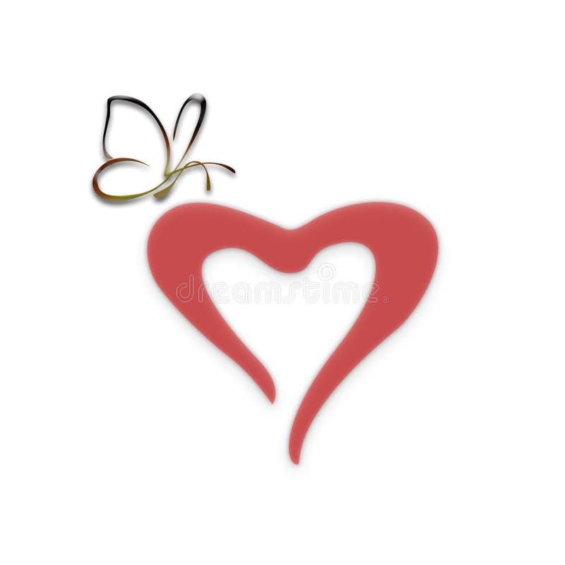 Corazón con la mariposa stock de ilustración