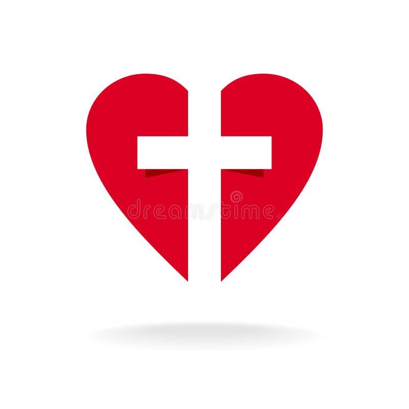 Corazón con la plantilla cruzada del logotipo de la iglesia stock de ilustración