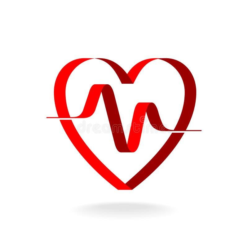 Corazón con la plantilla del logotipo de la cinta del pulso ilustración del vector