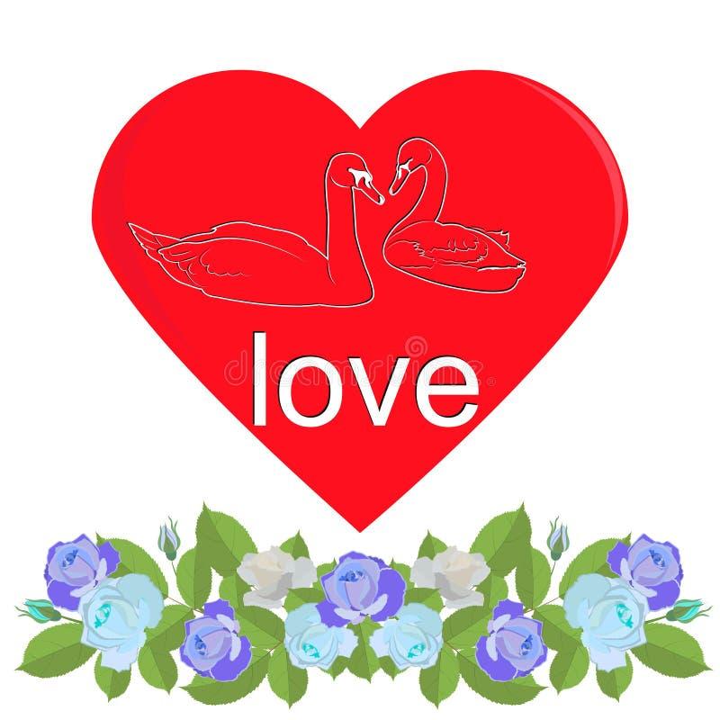 Corazón con la silueta de cisnes y de la guirnalda de rosas azules ilustración del vector