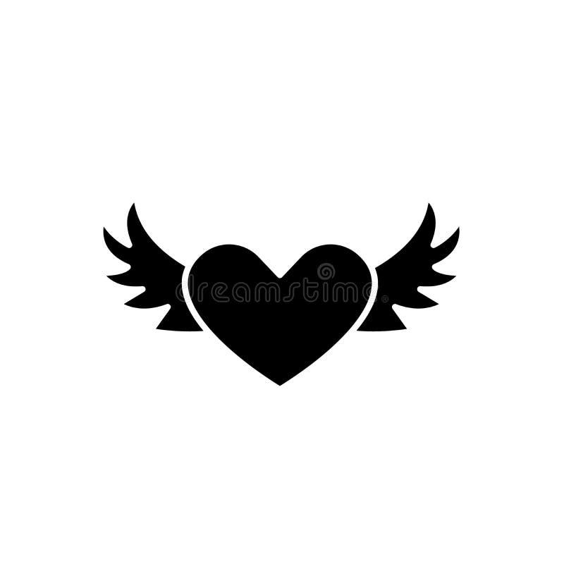 Corazón con las alas icono negro, muestra del vector en fondo aislado Corazón con el símbolo del concepto de las alas, ejemplo libre illustration
