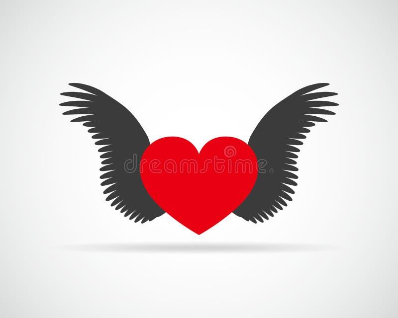 Corazón con las alas Ilustración del vector stock de ilustración