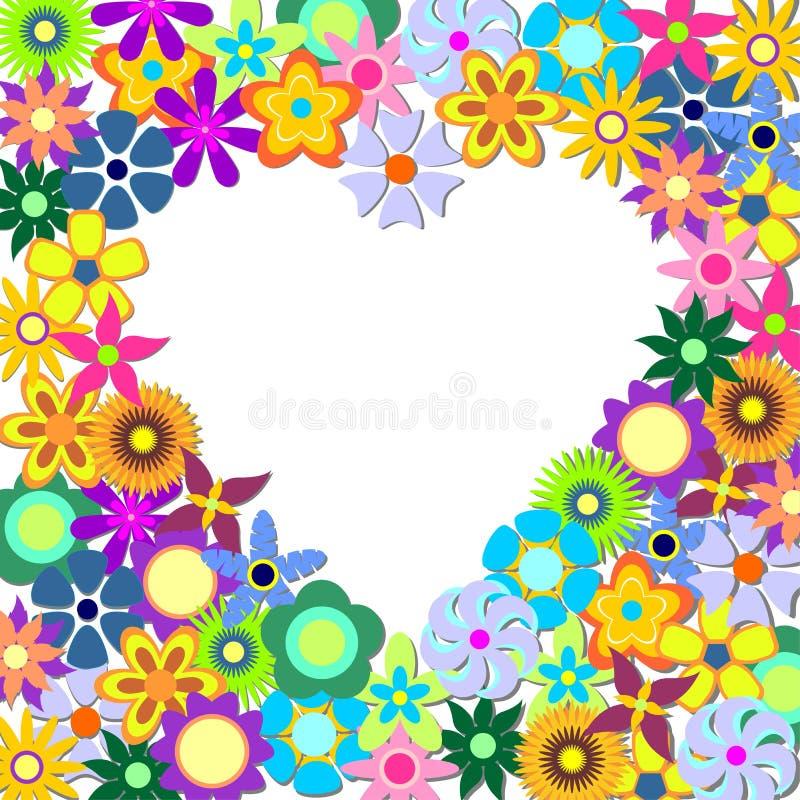 Corazón con las flores ilustración del vector