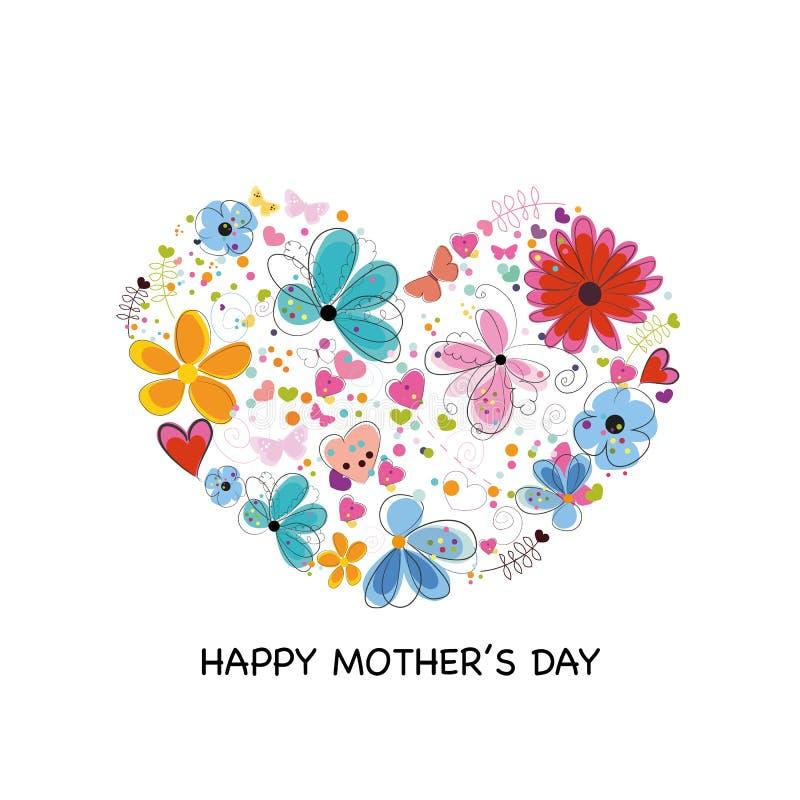 Corazón con las flores, los corazones y las mariposas coloridos abstractos Tarjeta de felicitación feliz del día del ` s de la ma stock de ilustración