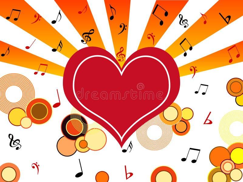 Corazón con las notas musicales ilustración del vector