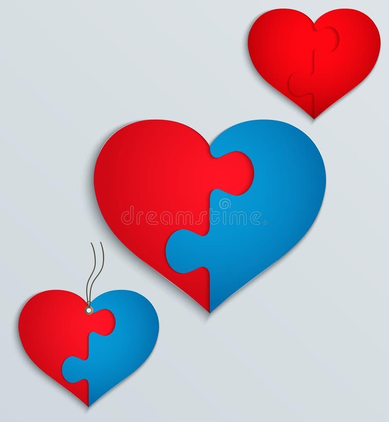 Corazón Con Las Partes Del Rompecabezas Ilustración del Vector ...
