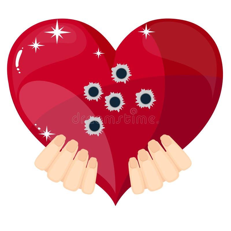 Corazón con los agujeros de bala, ejemplo del vector stock de ilustración