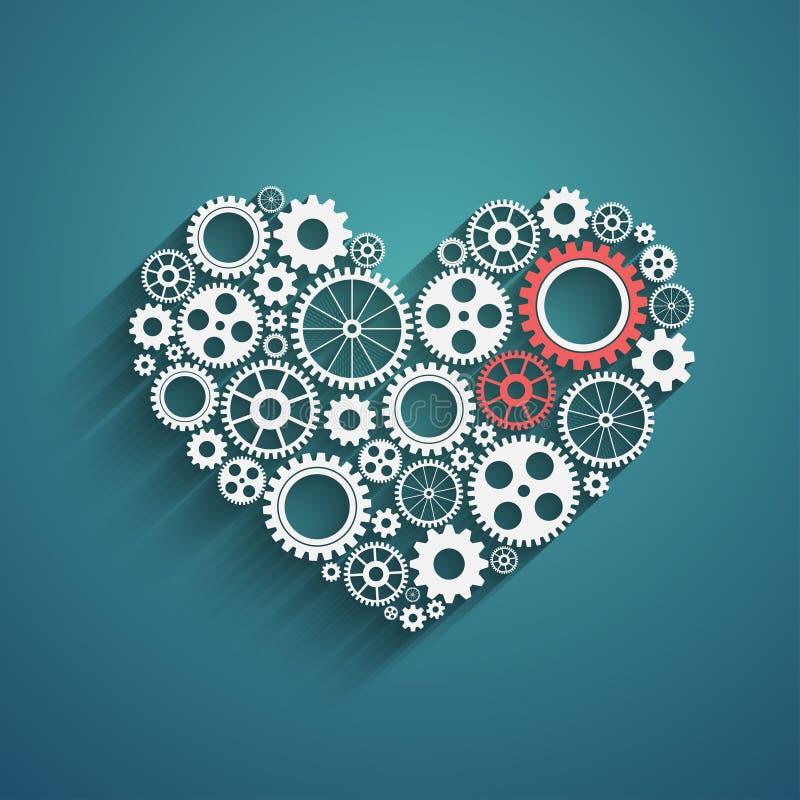 Corazón con los engranajes libre illustration