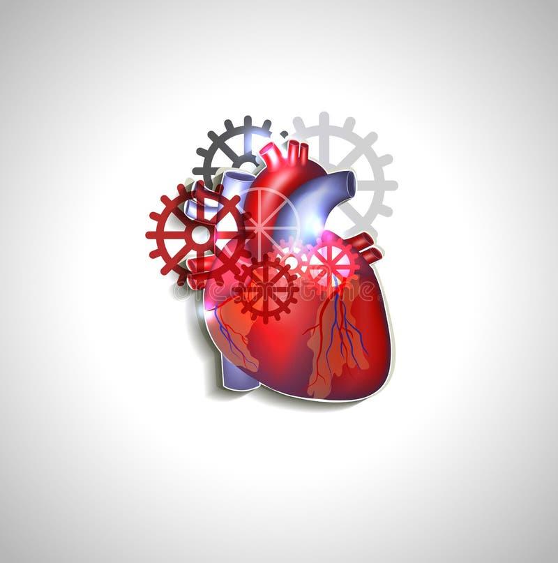Corazón con los engranajes ilustración del vector