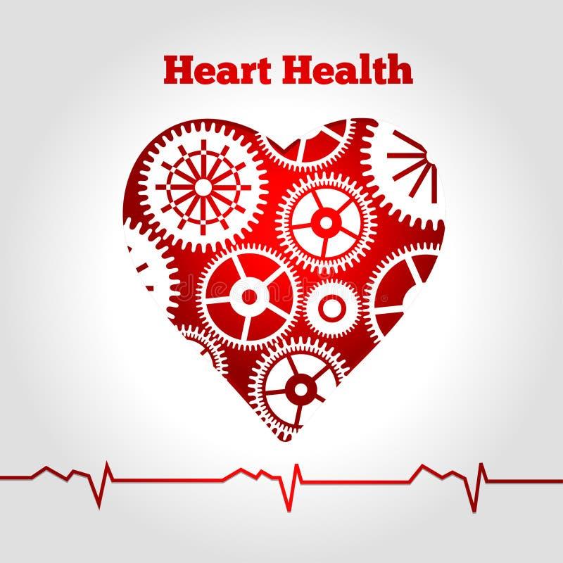Engranajes de la salud del corazón stock de ilustración