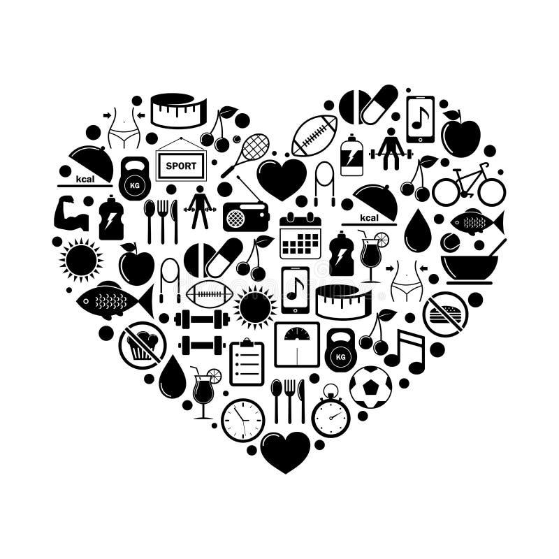 Corazón con los iconos de la aptitud y de la salud ilustración del vector