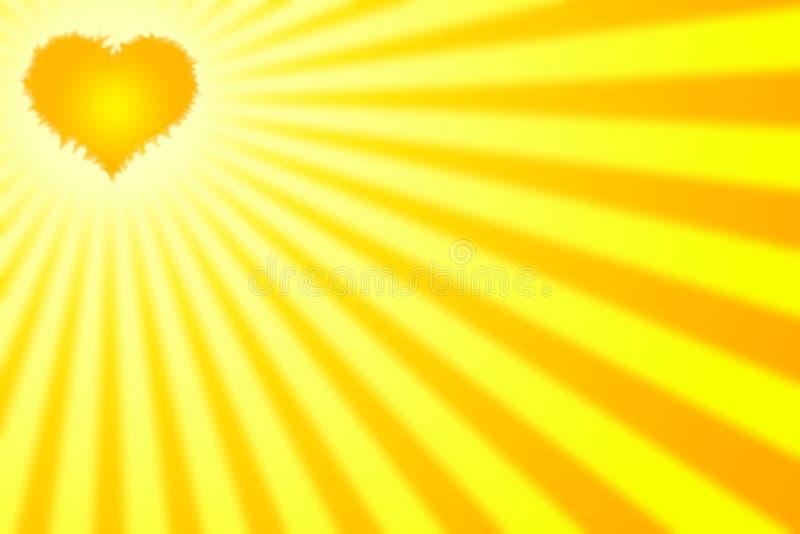 Corazón con los rayos ilustración del vector