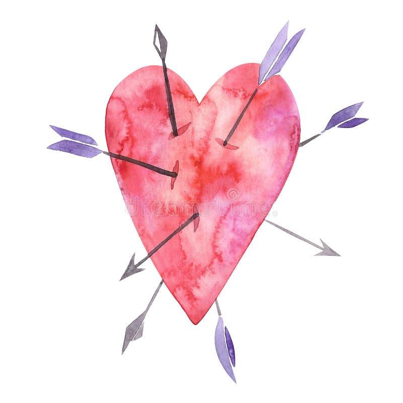 Corazón con muchas flechas, muestra del amor, símbolo de las tarjetas del día de San Valentín, acuarela con técnica de la máscara stock de ilustración