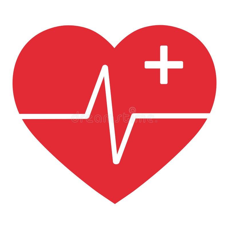 Corazón con pulso y cruz médica en el fondo blanco stock de ilustración