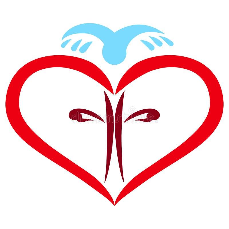 Corazón con un interior cruzado y un pájaro azul que vuela libre illustration