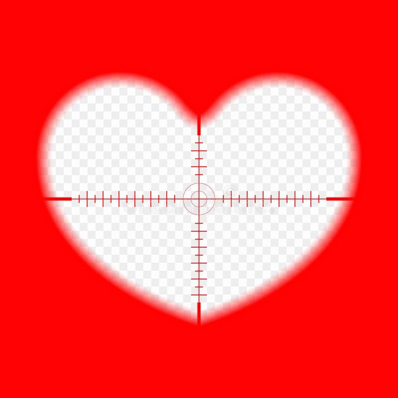 Corazón con una blanco La meta del amor El concepto del cupido toma objetivo, elige la blanco, la vista del ángel del amor Vector libre illustration