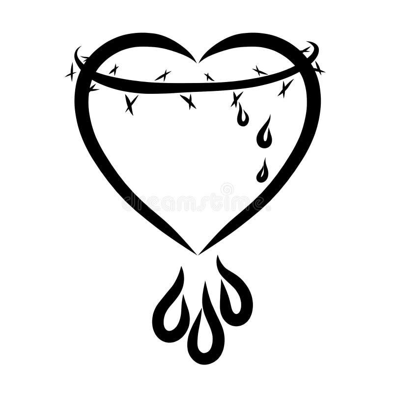 Corazón con una corona de las espinas y de los descensos, un sacrificio de Cristo, l ilustración del vector