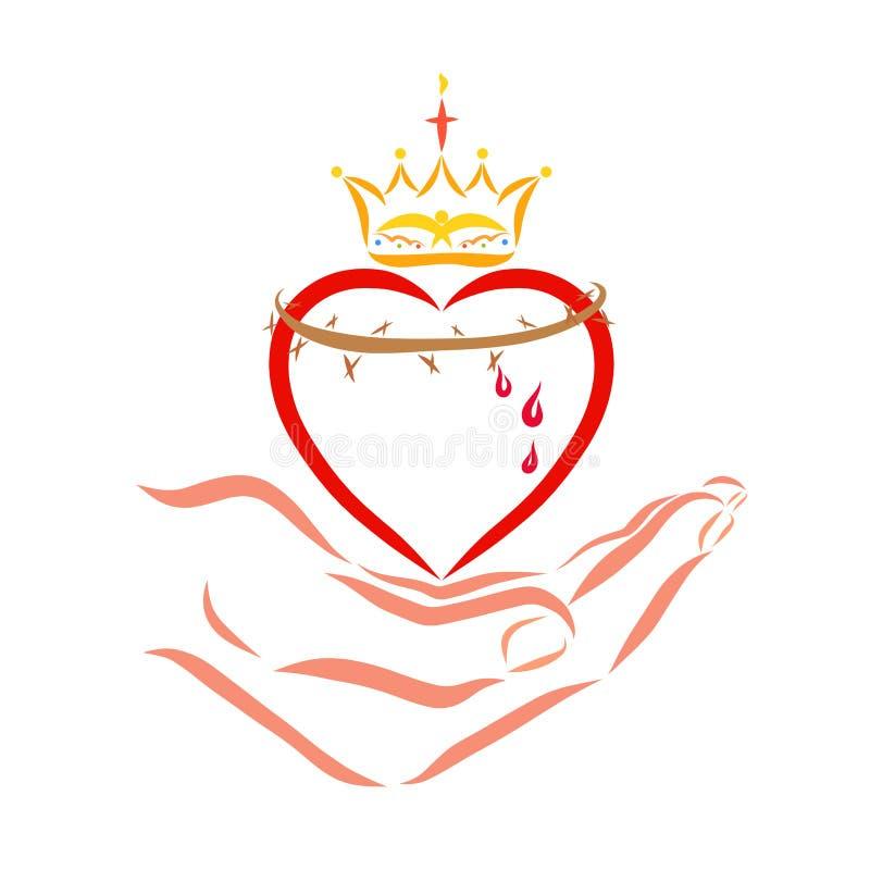 Corazón con una corona y la corona de espinas en la mano del salvador libre illustration