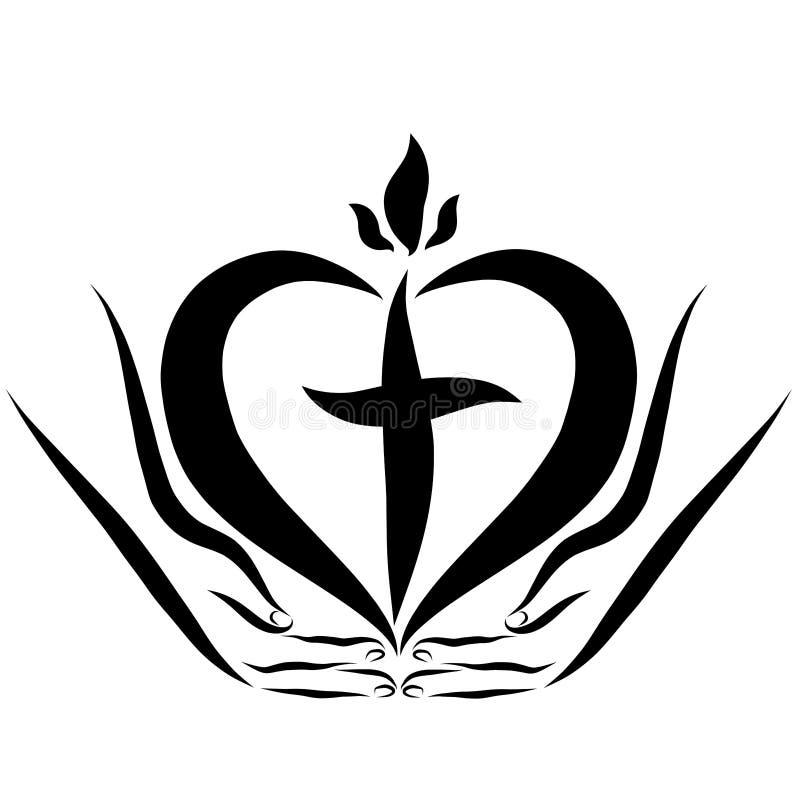 Corazón con una cruz y una llama a disposición, regalo divino libre illustration