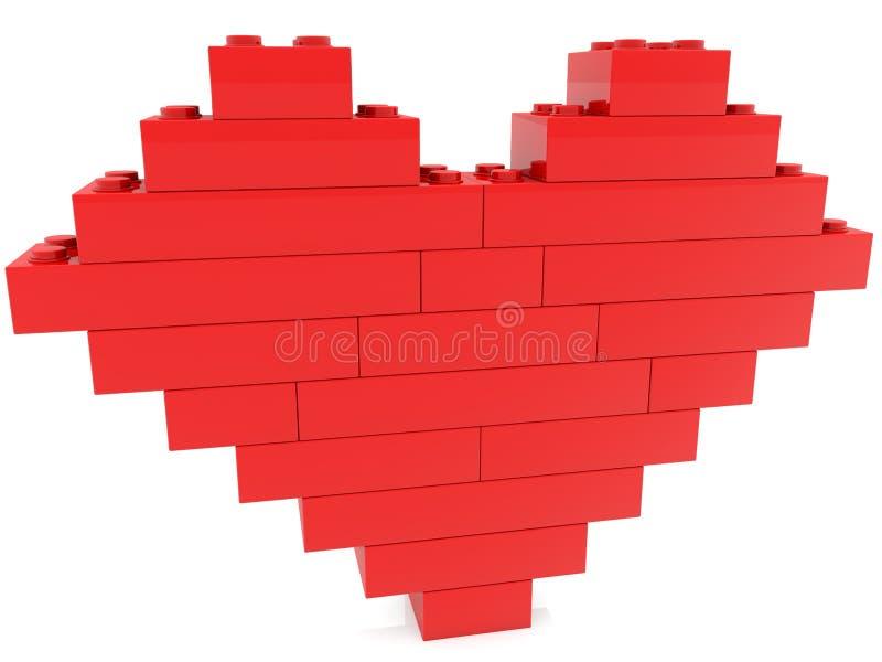 Corazón construido de ladrillos del juguete ilustración del vector