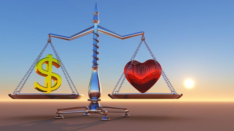 Corazón contra el dinero ilustración del vector
