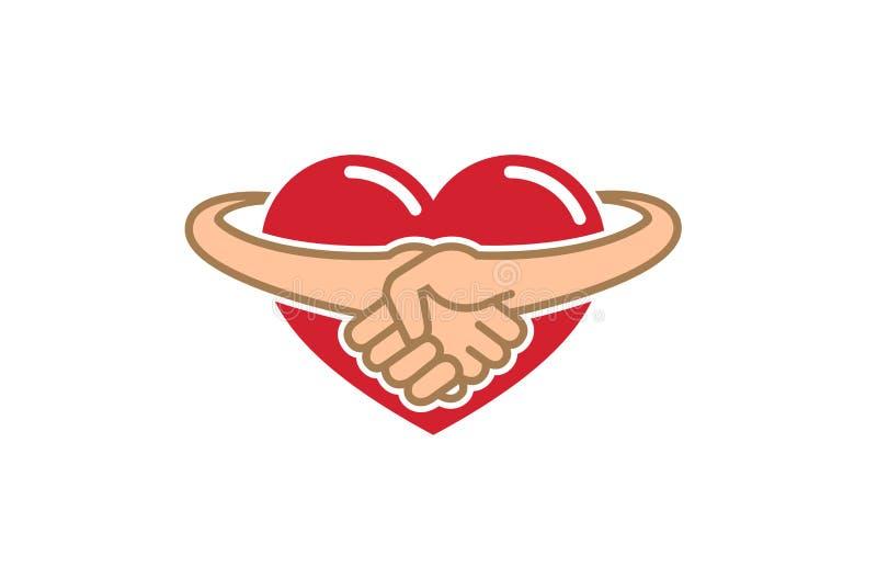 Corazón creativo del apretón de manos dentro del logotipo stock de ilustración