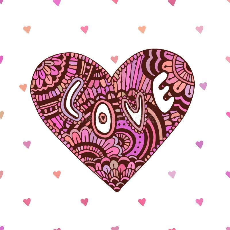 Corazón creativo del zentangle con amor del texto Tarjeta linda del día de tarjetas del día de San Valentín Arte del vector para  libre illustration
