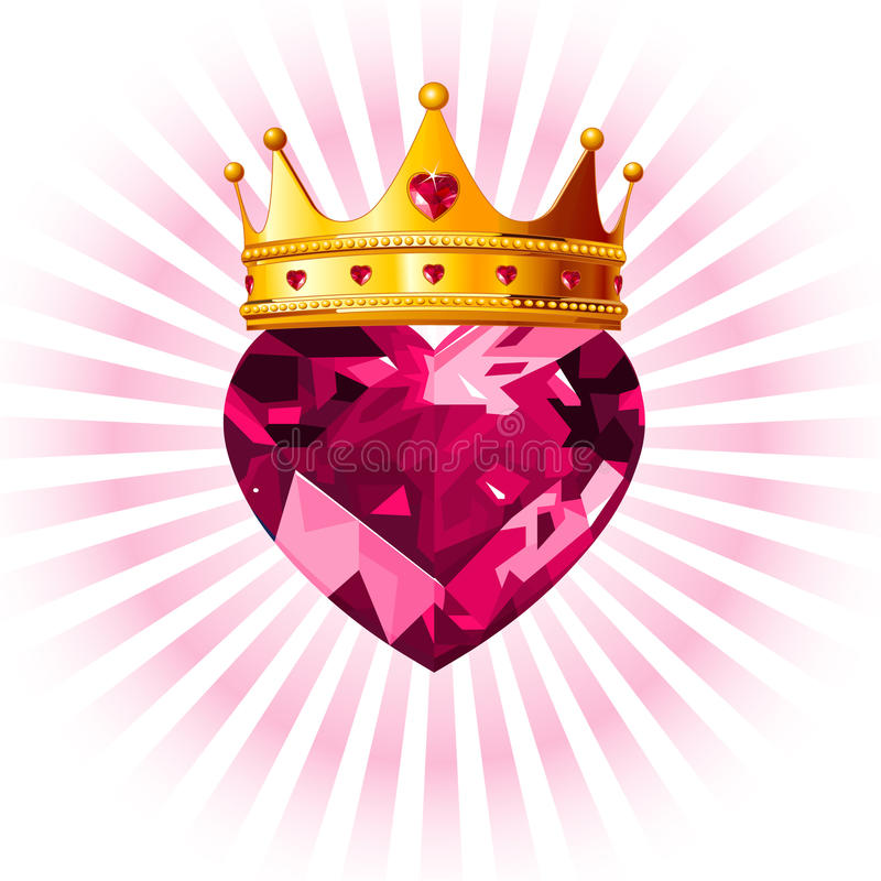 Corazón Cristalino Con La Corona Foto de archivo libre de regalías