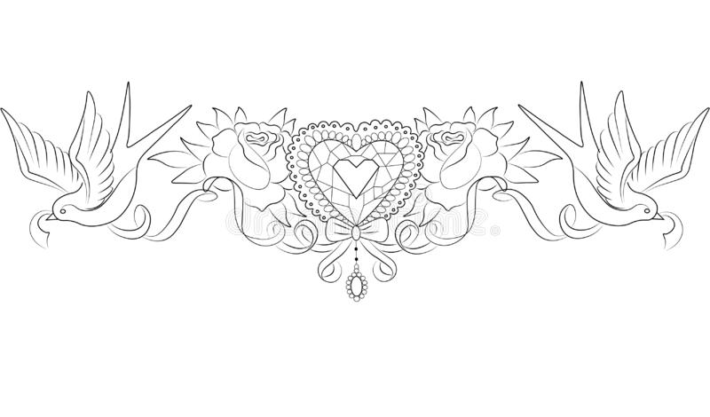 corazón cristalino con las rosas y los tragos ilustración del vector
