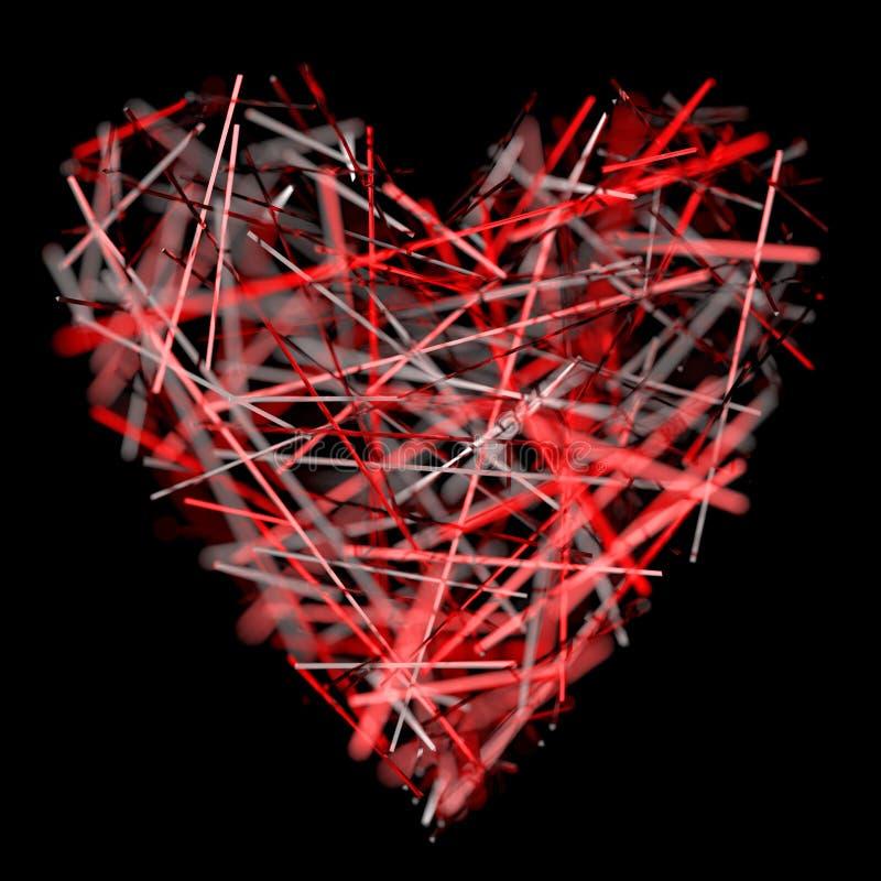 Corazón cristalino rojo ilustración del vector
