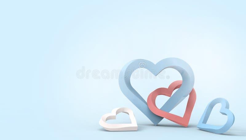 Corazón día de San Valentín del amor y tarjeta de felicitación del concepto de familia del estilo de papel del arte en fondo  ilustración del vector